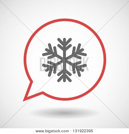 Isolated Line Art Comic Balloon With A Snow Flake