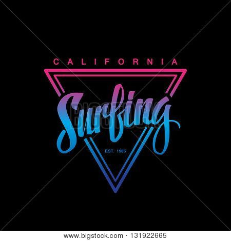 Surfing logo. Surfing calligraphy. Handwritten word. Surf typography, t-shirt graphics. Vector illustration.