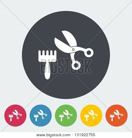 Scissors and comb icon. Flat vector related icon for web and mobile applications. It can be used as - logo, pictogram, icon, infographic element. Vector Illustration.