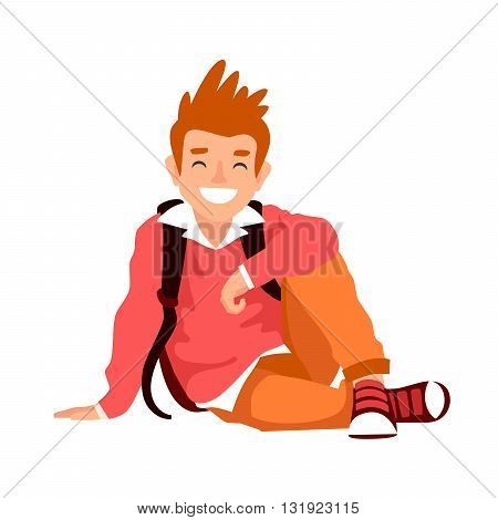 Funny boy with a backpack sitting on the floor. The concept of school education. Vector illustration on white background.