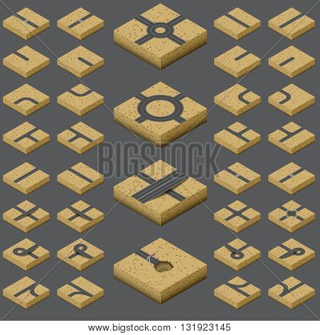 Isometric Roads elements on sandy Terrain. Construction kit