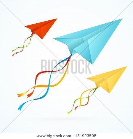 Paper Airplain Colorful Set with Ribbons. Vector illustration