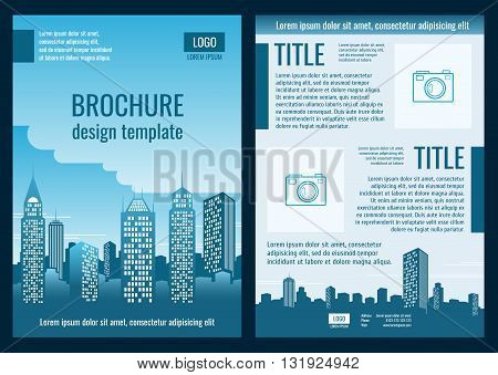 Construction company business brochure vector template. Brochure template for building business and construction company building illustration