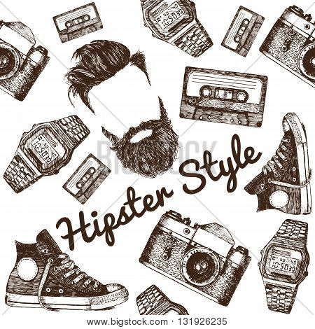 Vector Hipster Style Set #1. Hipster accessories in retro sepia style on white background. Seamless pattern.