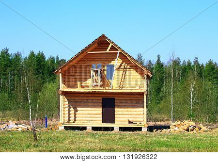 Construction of a wooden house at the edge of forest