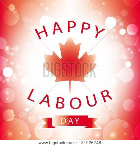 Happy Labour Day Canada greeting card with canadian flag abstract background, vector illustration