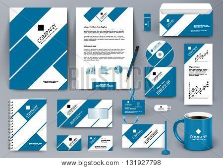 Professional universal branding design kit with blue and white tape lines. Corporate identity template. Business stationery mockup with folder, mug, etc.