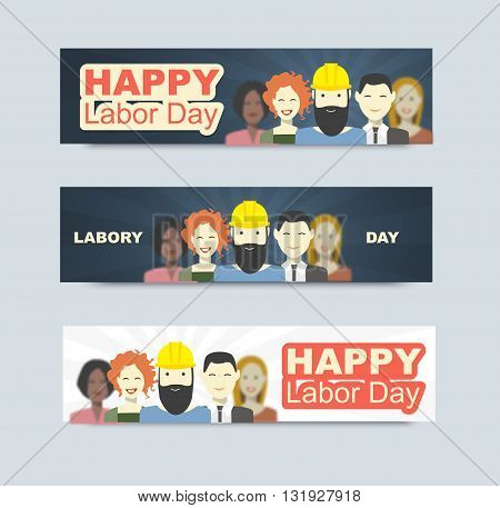 A set of banners for the day labor in America. Vector illustration of with workers