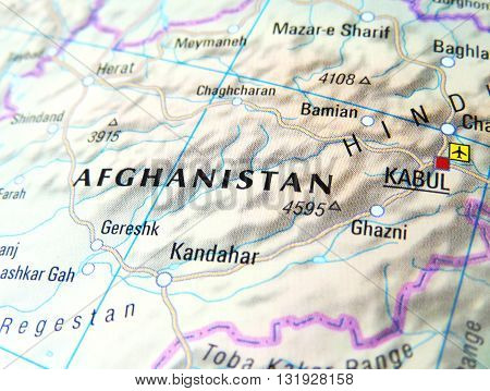 Map of Afghanistan with focus on Kabul
