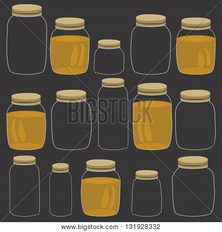 Honey jar pattern. Handdrawn cartoon pattern with glass jars isolated on black. Vector illustration.