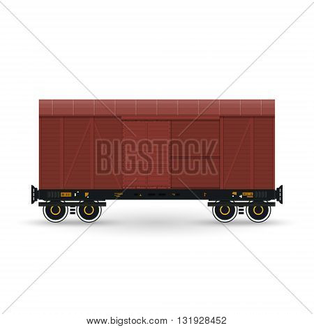 Closed Wagon Isolated on White, Railway  Transport, Covered Freight Car for Transportation of Goods, Vector Illustration