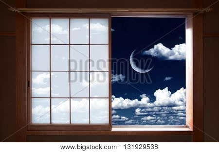Japanese traditional window and beautiful crescent moon