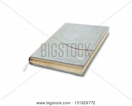 Beautiful old notebook isolated on white background.