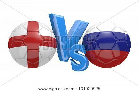 Football competition between national teams England and Russia, 3D rendering