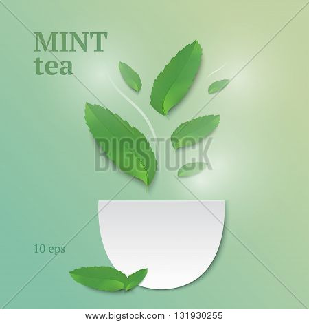 Refreshing mint tea and invigorating aroma of herbs. Fine background in shades of green
