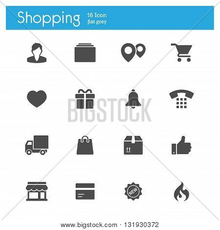 shopping flat gray icons set of 16