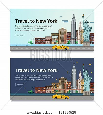A set of banners for the Internet by the landscape of the city. Vector illustration with urban landscape of New York