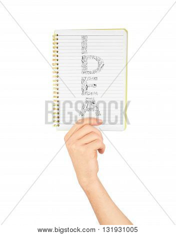 Note a hand holding a notebook with blank space for write note news memo announce notice isolated on white background