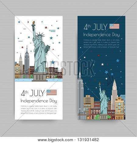 Vector illustrations of New York city for Independence Day of America 4th of July celebration.