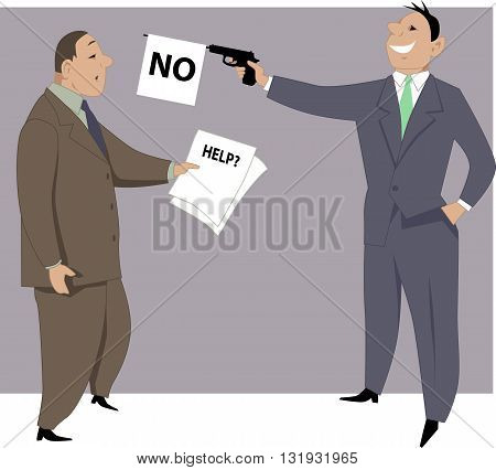 Businessman refuses to help a coworker, EPS8 vector illustration