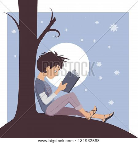 Little kid reading a book under a tree