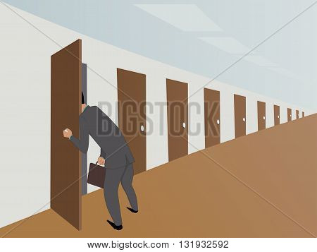 Red tape. Businessman in an endless hallway picking into one door