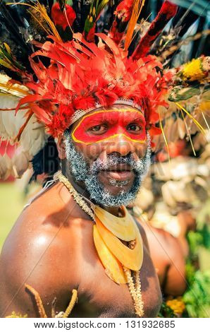 Look Of Bearded Man In Papua New Guinea