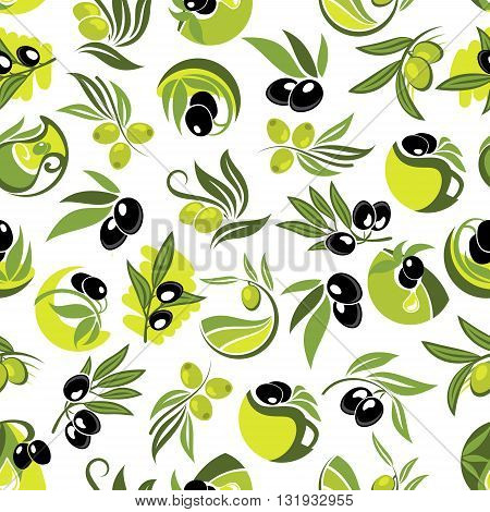 Olive tree branches with black and green olive fruits and jugs of organic olive oil seamless pattern over white background, decorated by floral swirls. Use as agriculture harvest theme or mediterranean cuisines design