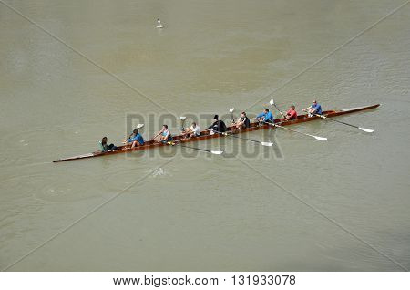 People Canoeing On The River Tiber In Rome