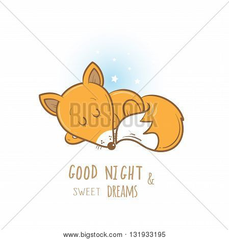 Card with cute cartoon sleeping fox. Little funny animal. Bedtime. Children's illustration. Vector image.