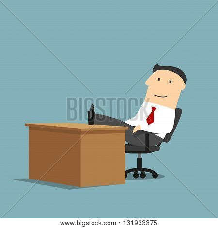 Relaxed smiling cartoon businessman is resting at workplace with feet on the table. Coffee break, relaxation themes design usage