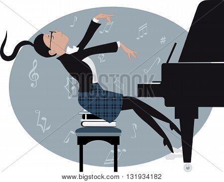 Young girl expressively playing a piano, vector cartoon