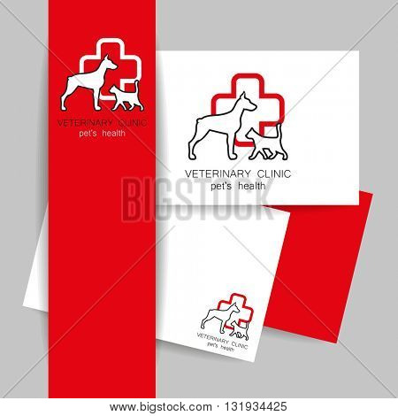 Veterinary medicine - logo design template for veterinary clinic. Identity presentation. Vector  template. Idea for veterinary, pet shop, pet clinic, pet care, or other pet help and etc.