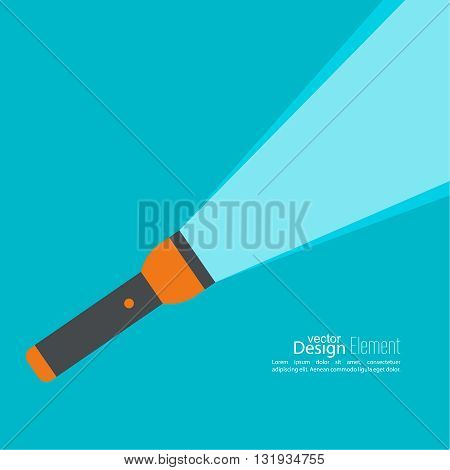 Vector background with flashlight. Vector flat flashlight illustration. The concept of search optimization, seo. Pocket flashlight icon.