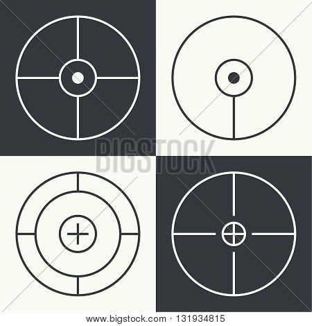 set of different types of crosshair. Vector icon simple target. Different crosshair icons. Aims templates. Shooting marks and cross hairs. Vector aim.