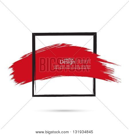 Abstract background with square banner and smear paint. Text box and frame with red smear. Vector hand drawn frame. Black square banner and  red smear. Frame template, layout