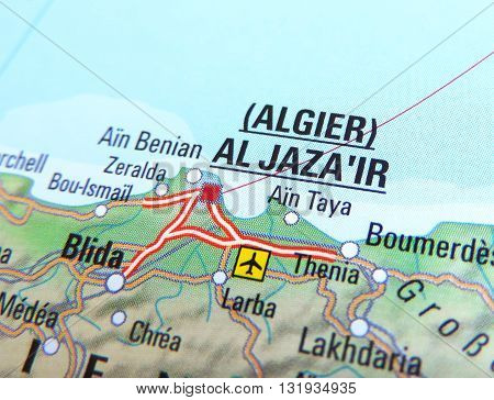 Map of Algeria, with focus set on Algiers