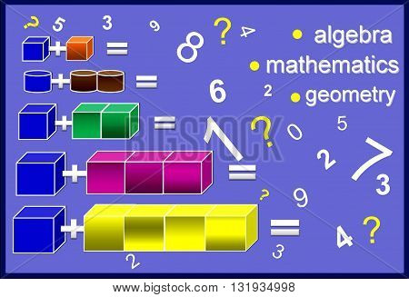 Color algebra The picture shows simple mathematical solutions for preschool children. Parents can help their children in the responses.