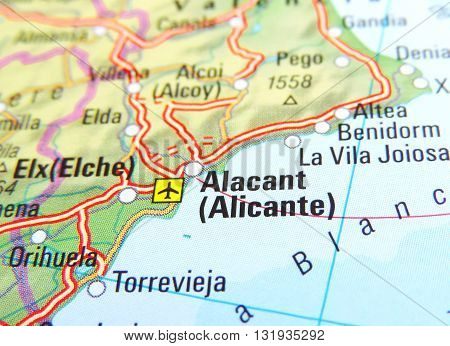 Map of Alicante, Spain. Map with focus on Costa Blanca.