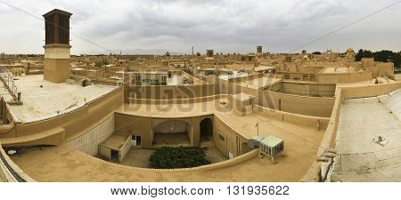 roofs of Yazd, Iran with wind-catchers - badgir