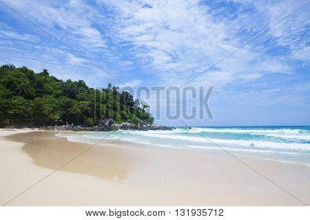 tropical beach is peaceful in the morning