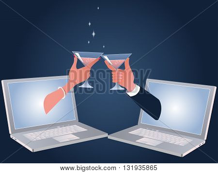 Online dating. A male and female hands toasting drinks through laptop screens.