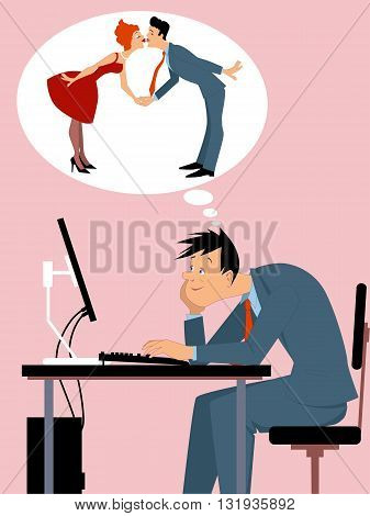 Online dating. Man sitting at the computer, imagining himself in a relationship