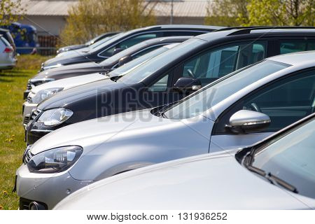 ALTENTREPTOW / GERMANY - MAY 1 2016: Volkswagen cars stands on car dealer in altentreptow germany at may 1 2016.