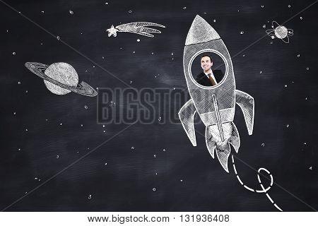 drawing rocket with businessman on blackboard 3D Rendering