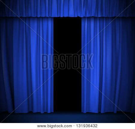 vector background with blue curtain. vector illustration.