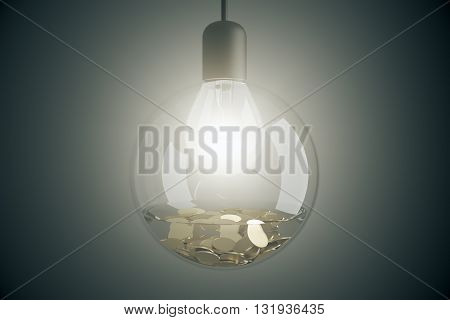 Dollar coins in aquarium with bulb 3D Rendering