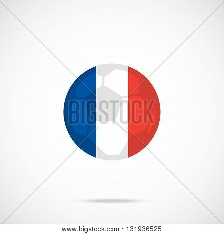 France flag round icon and football ball silhouette. Vector icon isolated on gradient background
