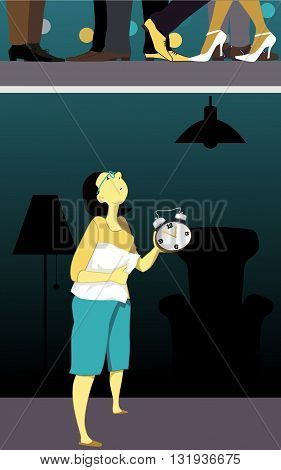 Noisy neighbors. Woman holding a pillow and a clock, looking at the ceiling late at night, feet of her neighbors partying visible upstairs, vector illustration