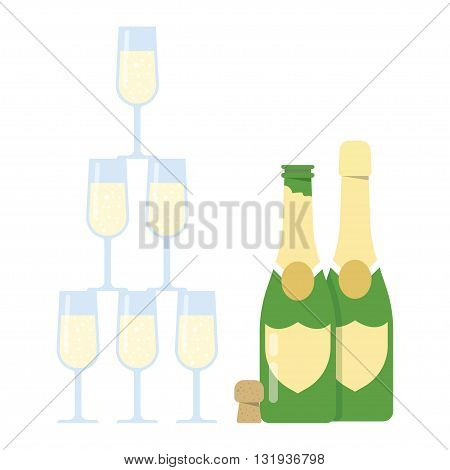 Champagne Glasses Pyramid tower on a white backgroundVector Illustration
